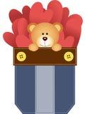 Jean pocket teddy bear and hearts Stock Photos