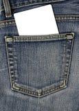 Jean-rückseitige Tasche und leere Karte Lizenzfreie Stockbilder