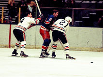 Jean Ratelle New York Rangers battles Stan Mikita Royalty Free Stock Photography