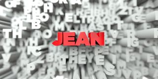 JEAN -  Red text on typography background - 3D rendered royalty free stock image Stock Photo