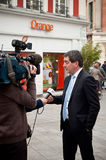 Jean Rottner the mayor of Mulhouse interviewed by television at opening of Starbucks in Mulhouse Stock Photos