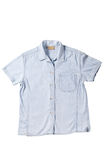 Jean shirt. Detail fabric clothes isolation on white background Stock Photo
