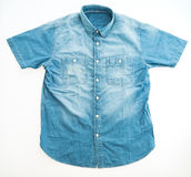 Jean shirt. Fashion jean shirt isolated on white background Royalty Free Stock Photo
