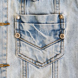 Jean shirt with pocket and metal button Royalty Free Stock Images