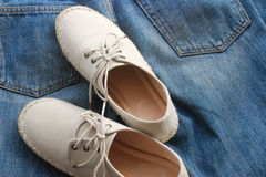 Jean and shoes royalty free stock photography