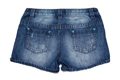 Jean short pants. Isolate white background Stock Photos