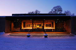 Jean Sibelius Museum. In the evening lights royalty free stock photo