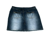 Jean skirt isolated on white background Stock Images