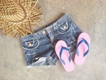 Jean slippers hat summer clothing Royalty Free Stock Photography