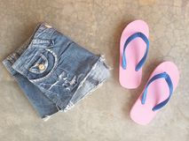 Jean slippers summer clothing Stock Image