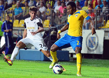 Jean Sony Alcenat and Alejandro Pozuelo in Petrolul Ploiesti-Swansea FC Stock Images