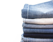 Jean. Stack of jean on whie background Stock Images