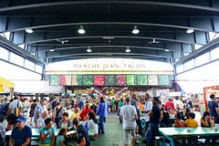 Jean-Talon Market. MONTREAL, CANADA - SEP 8: Jean-Talon Market interior on September 8, 2012 in Montreal, Canada. Montreal is the largest in Quebec, the second Stock Photos