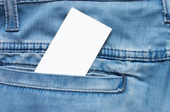 Jean texture with pocket and empty card Stock Image