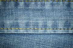 Jean texture and stitch line for texture and background. Royalty Free Stock Photos