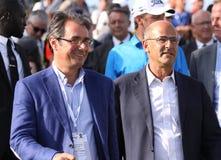 Jean Van de Velde e Patrick Kron, o francês do golfe abrem 2015 Fotografia de Stock