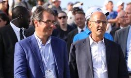 Jean Van de Velde och Patrick Kron, golffransmannen öppnar 2015 Royaltyfri Fotografi