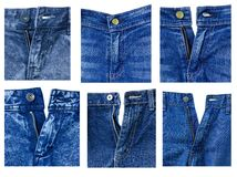 Jeanes front elements with zipper Stock Photos