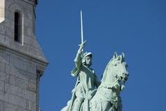 Jeanne d' Arc. Statue of Joan of Arc at Sacre Coeur Basilica Stock Images