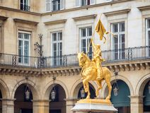 Jeanne d`Arc Joan of Arc bronze sculpture in Paris France. Jeanne d`Arc is an 1874 French gilded bronze equestrian sculpture of Joan of Arc by Emmanuel Fré stock image