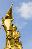 Jeanne D'Arc. Statue gilded of Jeanne D'Arc launching the attack vis-a-vis the Tuileries Gardens Royalty Free Stock Photos