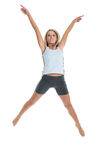 Jeanne-Marie 11. Jeanne-Marie jumping with joy in her gym outfit 2 Stock Photography
