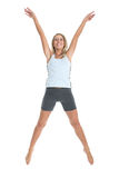 Jeanne-Marie 12. Jeanne-Marie jumping with joy in her gym outfit 3 Royalty Free Stock Images