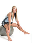 Jeanne-Marie 14. Jeanne-Marie working out with gym ball Royalty Free Stock Photo