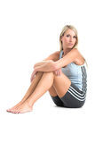 Jeanne Marie in gym outfit. Taken over white Stock Image