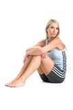 Jeanne Marie in gymnastiekuitrusting Stock Afbeelding