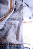 Jeans 1. Closeup of an inside-out turned Jeans Stock Photo