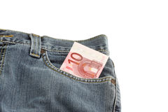 Jeans with a 10 euro note in pocket Royalty Free Stock Photo