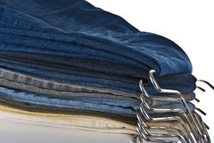 Jeans. Detail of various colored jeans Stock Image