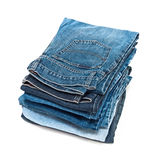 Jeans. Stack of jeans. Isolated on white background Royalty Free Stock Images