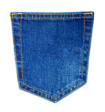 Jeans. Back pocket of blue Jeans isolated on white stock images