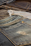 Jeans. Ripped blue jeans pocket detail Stock Images