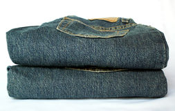 Jeans. Stack of blue jeans stock photo