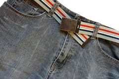 Jeans. With a belt from a fabric Stock Images
