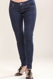 Jeans. Woman legs with blue jeans and stylish shoes Royalty Free Stock Photo