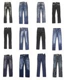 Jeans. Female and man's jeans. Twelve pairs Stock Photo