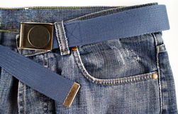 Jeans. A blue jeans with belt Stock Images