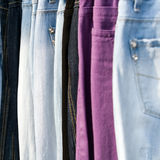 Jeans. Hanging in the market Royalty Free Stock Photography