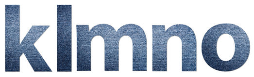 Jeans Alphabet Letters K-O Stock Images