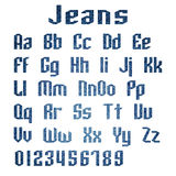 Jeans alphabet letters number, Vector illustration Stock Photos