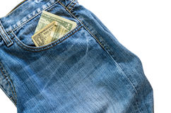 Jeans with american  dollar bill on its pocket Royalty Free Stock Photo