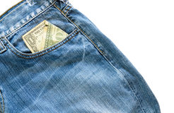 Jeans with american  dollar bill on its pocket Stock Photos