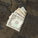 Jeans with american four different dollar bills Royalty Free Stock Image