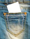 Jeans avec la bannière blanche d'annonces image stock