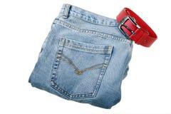 Jeans avec la courroie photos stock