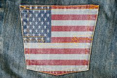 Jeans Back Pocket On Pattern Flag Stock Images